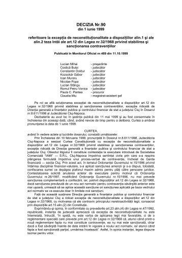 301. Decizia nr. 90 din data de 01.06.1999 - Curtea Constituţională ...