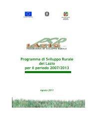 Programma di Sviluppo Rurale del Lazio per il periodo 2007/2013