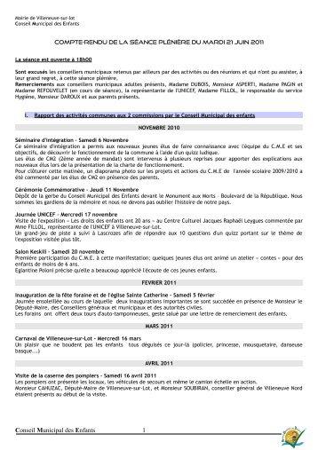 Conseil Municipal des Enfants 1 - Villeneuve sur Lot