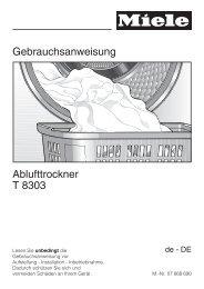 Gebrauchsanweisung Ablufttrockner T 8303 - Miele