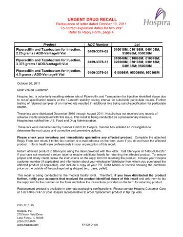 Tazicef recall letter hospira amended recall letter piperacillin tazobactam for inj hospira thecheapjerseys Image collections
