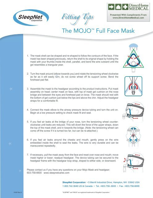 0a4e91b168 Mojo CPAP Mask - Fitting Tips (PDF) - Direct Home Medical