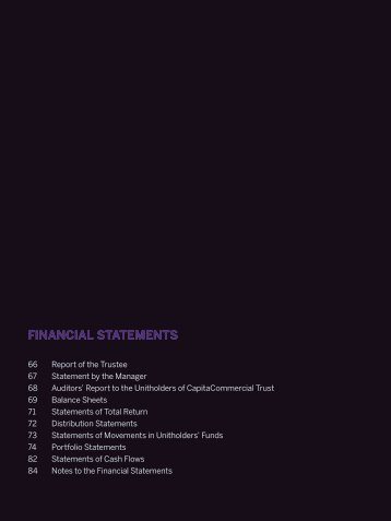 notes to the financial statements - CapitaCommercial Trust