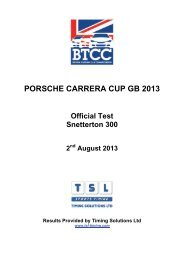 PORSCHE CARRERA CUP GB 2013 - TSL Timing