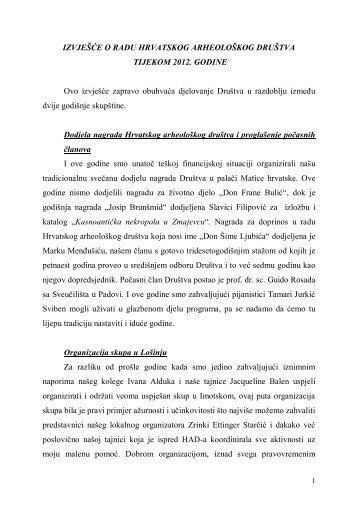 Izvješće o radu Hrvatskog arheološkog društva u 2012. godini (*.pdf)