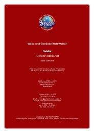 Katalog für Hersteller: Stellenrust - und Getränke-Welt Weiser