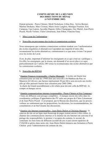 Réunion des directions du 4 novembre 2005 - répaq