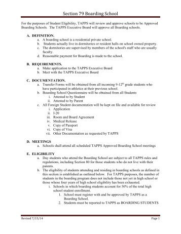 Section 79 Boarding School - tapps