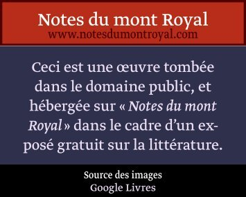Tome I - Notes du mont Royal