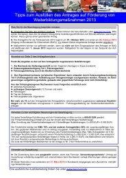 Aus- und Weiterbildung  2013 Antrag - ght