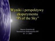 """Wyniki i perspektywy eksperymentu """"Pi of the Sky"""""""