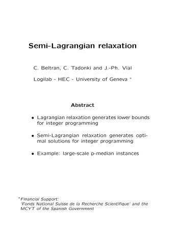 Semi-Lagrangian relaxation