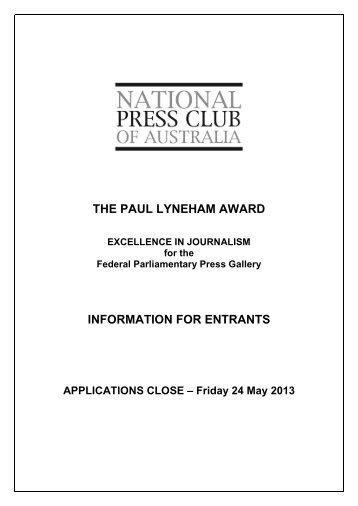 the paul lyneham award information for entrants - National Press Club