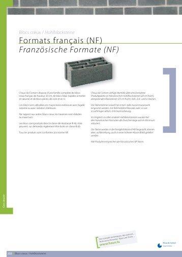 Formats français (NF) Französische Formate (NF) - Chaux de Contern