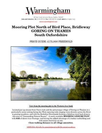 Mooring Plot North of Bird Place, Bridleway GORING ... - Warmingham