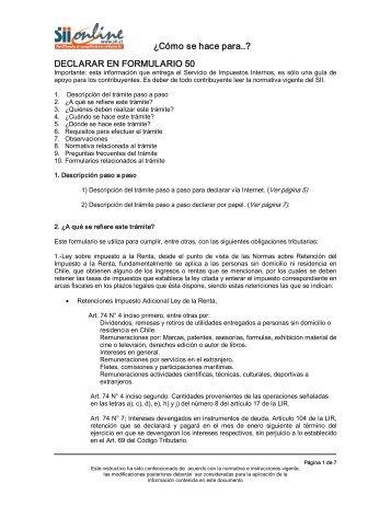 DECLARAR EN FORMULARIO 50 - Servicio de Impuestos Internos
