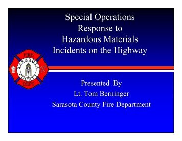 Special Operations Response to Hazardous Materials Incidents on ...
