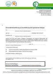 Einverständniserklärung zur Durchführung einer genetischen Analyse