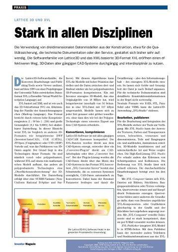 LATTICE 3D und XVL Stark in allen Disziplinen - Docware GmbH