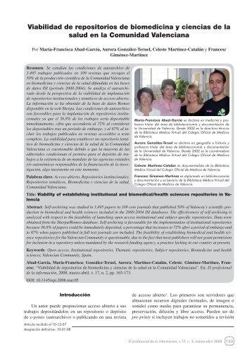 Viabilidad de repositorios de biomedicina y ciencias de la ... - E-LIS