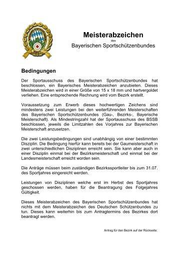 Meisterabzeichen des Bayerischen Sportschützenbundes