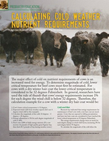 Calculating Cold Weather Nutrient Requirements - National ...