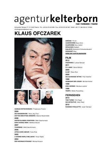 KLAUS OFCZAREK - Agentur Kelterborn