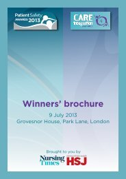 Winners' brochure - Health Service Journal