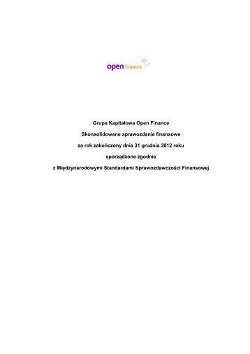 Skonsolidowane sprawozdanie finansowe Grupy Open Finance za ...