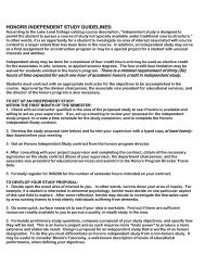 Download Honors Independent Study Guidelines - Lake Land College
