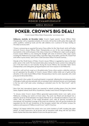POKER. CROWN'S BIG DEAL!