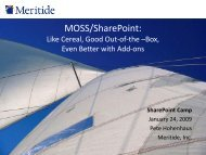 MOSS/SharePoint - Benchmark Learning