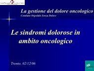 Le sindromi dolorose in ambito oncologico