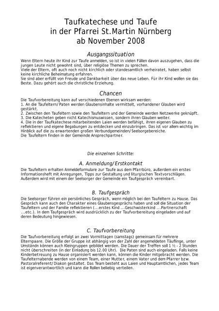 Konzept Der Taufkatechese Seit November 2008 Stadtkirche