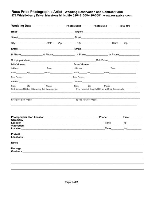 Wedding Photography Contract.Wedding Photography Contract Reservation Form Russ Price
