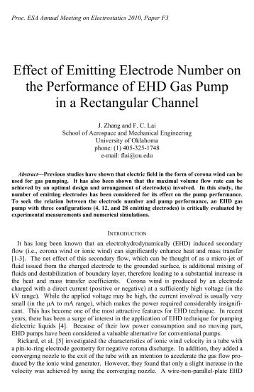 Effect of Emitting Electrode Number on the Performance of EHD Gas ...