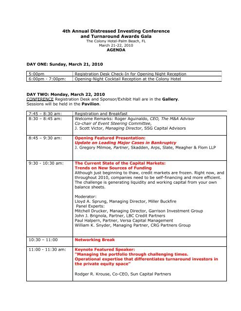 4th Annual Distressed Investing Conference and Turnaround ...