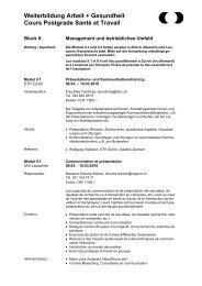 Block IV: - IST - Institut universitaire romand de Santé au Travail