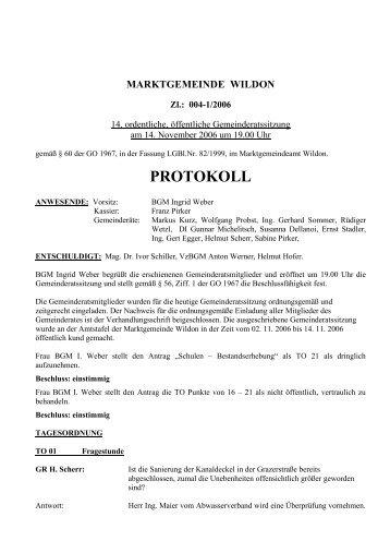 Protokoll der 14. Gemeinderatssitzung - Marktgemeinde Wildon