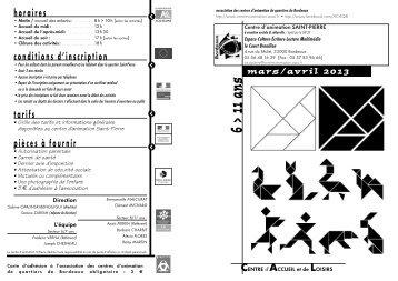 mars / avril 2013 - Association des centres d'animation de quartiers ...