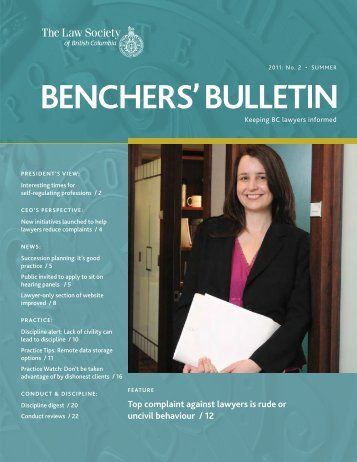 Benchers Bulletin, Summer 2011 - The Law Society of British ...