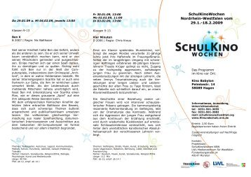 SchulKinoWochen Nordrhein-Westfalen vom 29.1.-18.2.2009