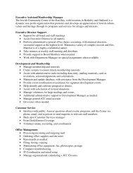 Executive Assistant/Membership Manager The ... - JCC East Bay