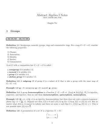 Abstract Algebra I Notes