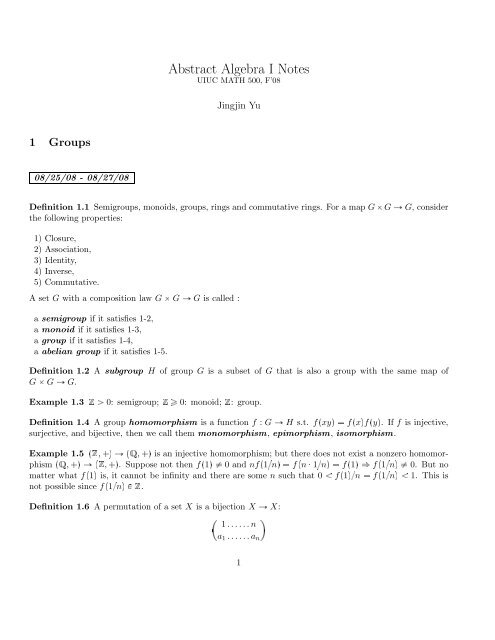 Abstract Algebra I Notes