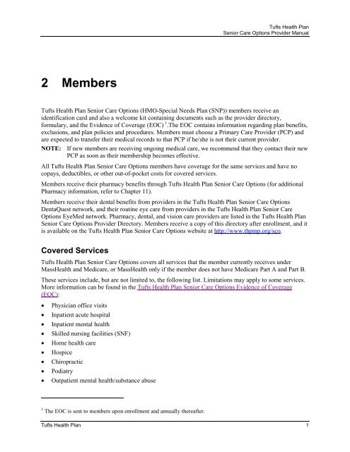 Tufts Health Plan Sco Provider Manual Members