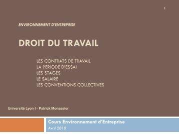 Les contrats de travail en France - Patrick MONASSIER