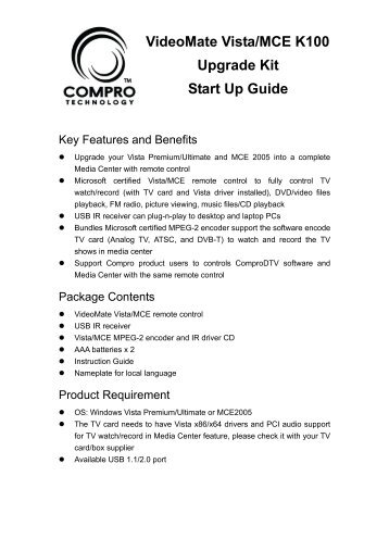 COMPRO VideoMate M1F Startup Manual