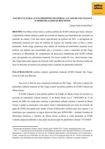 O ICMS CULTURAL E O PATRIMÔNIO IMATERIAL ... - Cultura Digital