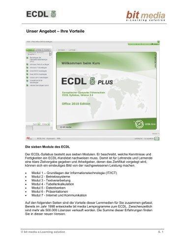 19 Argumente für das bit media ECDL5 Kurspaket - Inhalte